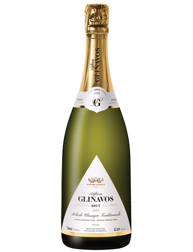 White brut sparkling wine Lefteris GLINAVOS Brut from Debina grape variety