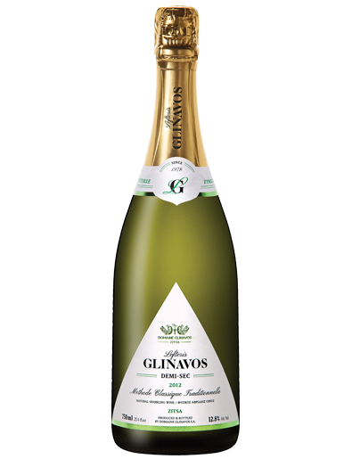 White semi dry sparkling wine Lefteris GLINAVOS Demi-Sec by Greek winery Domaine Glinavos