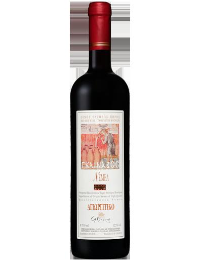 Exzellenter Rotwein Agiorgitiko Glinavos aus der Rebsorte Nemea. Ausgezeichneter Wein mit G.U Nemea von dem Glinavos Weingut in Zitsa, Ioannina